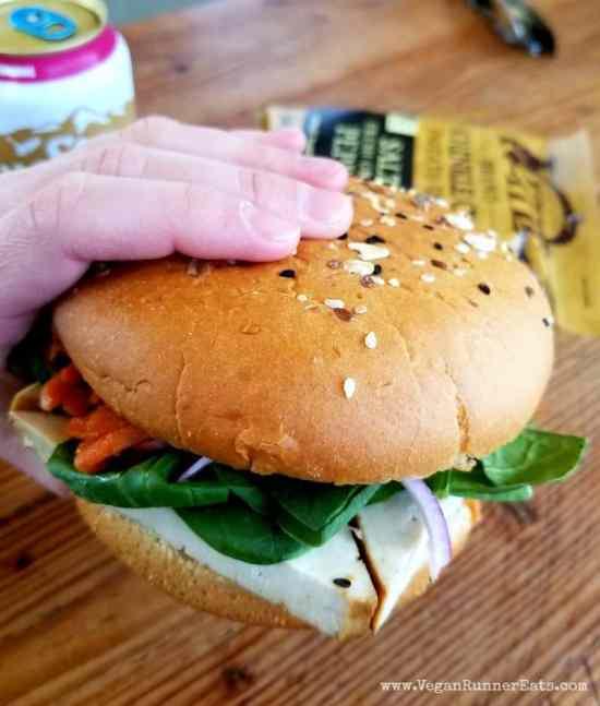 Crescent Beach vegan sandwich at the co-op on Orcas Island| Vegan food on San Juan islands, WA