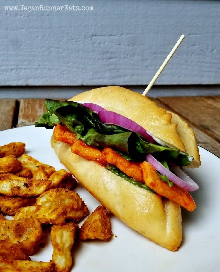 Vegan buffalo tofu sandwich recipe with vegan bleu cheese sauce
