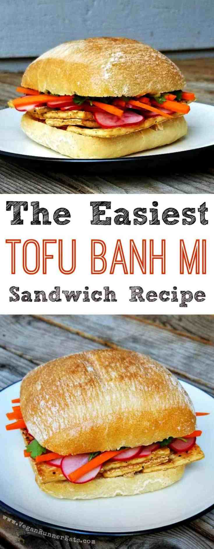 Easy vegan tofu banh mi sandwich recipe that comes together in 30 minutes, including the time for marinating veggies! Tofu slices are seared in a pan, then layered with pickled radishes, carrots and cilantro, then finished with an spicy Sambal-based spread. | tofu banh mi recipe | vegan banh mi recipe | vegan banh mi sandwich | vegan sandwiches | vegan sandwich recipes | vegan Vietnamese recipes | #tofubanhmisandwich #tofubanhmi #tofubanhmirecipes #vegansandwiches #vegantofurecipes