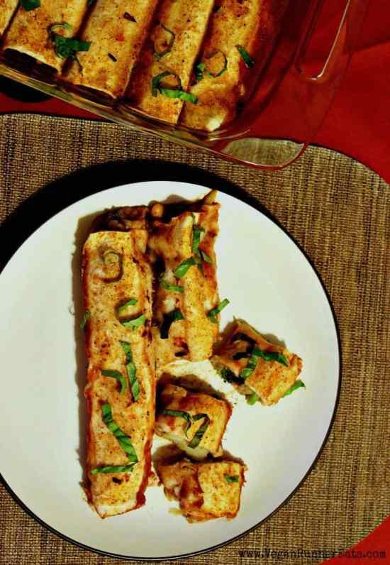 Vegan enchiladas recipe with veggie filling