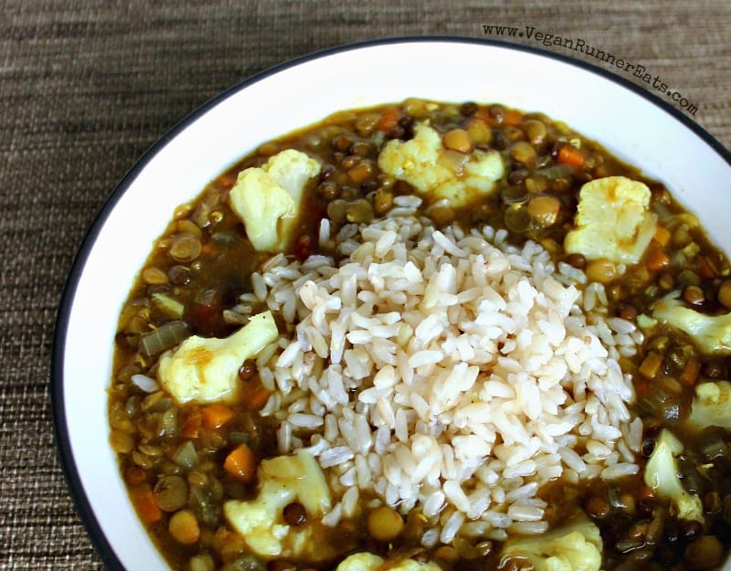 Healthy vegan lentil soup recipe with cauliflower and rice