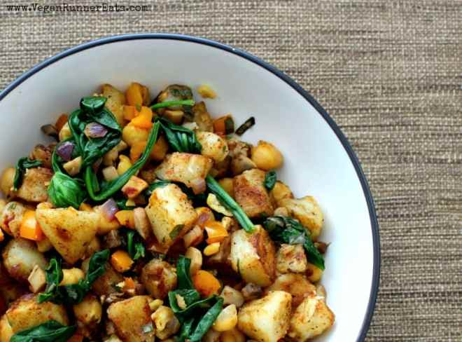 Warm potato salad recipe with spinach and chickpeas - a mayo-free vegan potato salad recipe