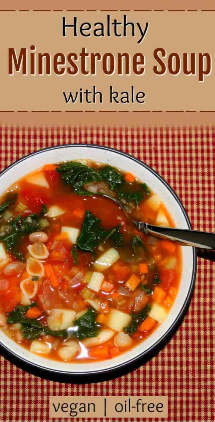 This healthy vegan minestrone soup recipe is made with veggies, beans, pasta, and whole lotta flavor! A vegan twist on a classic Italian soup. An oil-free vegan soup recipe.   vegan minestrone   vegan soups   vegan soup recipes   healthy soup recipes   meatless soup recipes   vegetarian soup recipes   vegan soup with kale   vegan kale and bean soup   #veganminestrone #vegansoups #vegansouprecipes #healthyveganrecipes #healthyrecipes #veganrecipes
