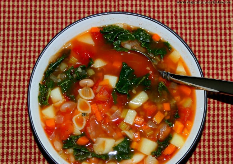 Healthy Vegan Minestrone Soup with kale, beans and pasta