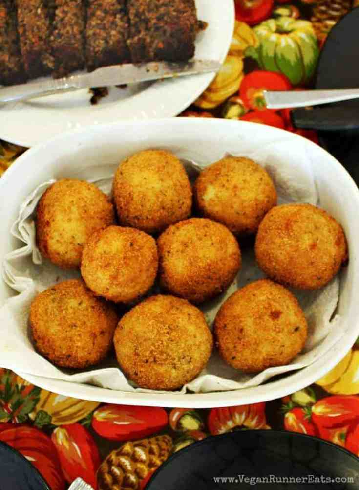 Vegan sausage-stuffed Italian rice balls - my mother-in-law's traditional italian recipe that I veganized using vegan sausage and other ingredients. | vegan Italian rice balls | sausage-stuffed Italian rice balls | vegan arancini | sausage-stuffed arancini | #veganriceballs #veganarancini #sausagestuffedriceballs #veganitalianrecipes