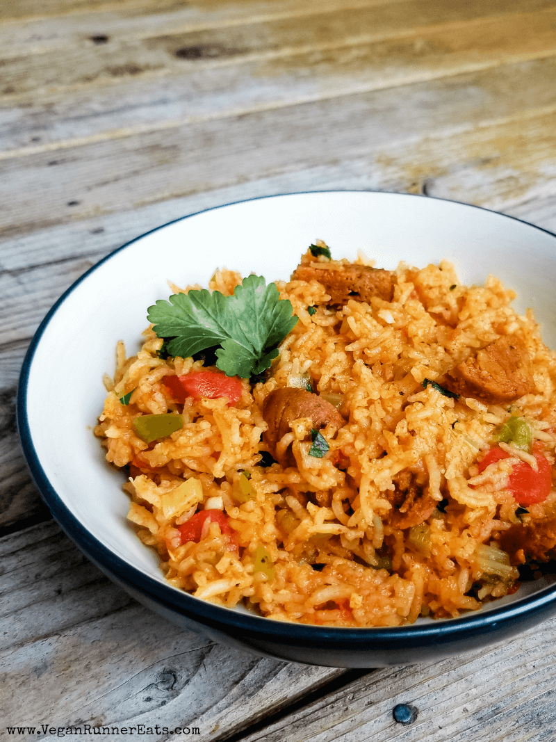 Instant Pot vegan jambalaya recipe, made with chipotle Field Roast sausage and long grain white rice