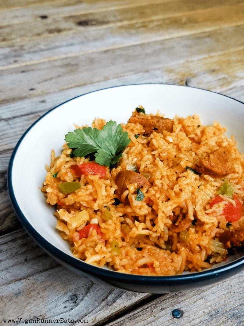 Instant Pot vegan jambalaya recipe, made with chipotle Field Roast sausage and long grain white rice