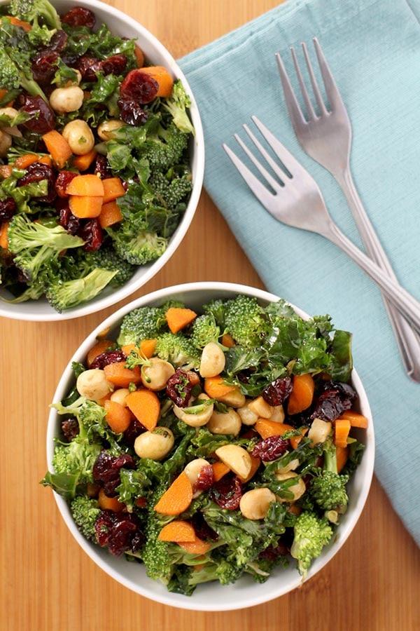 Broccoli-Kale Salad with Macadamia Nuts