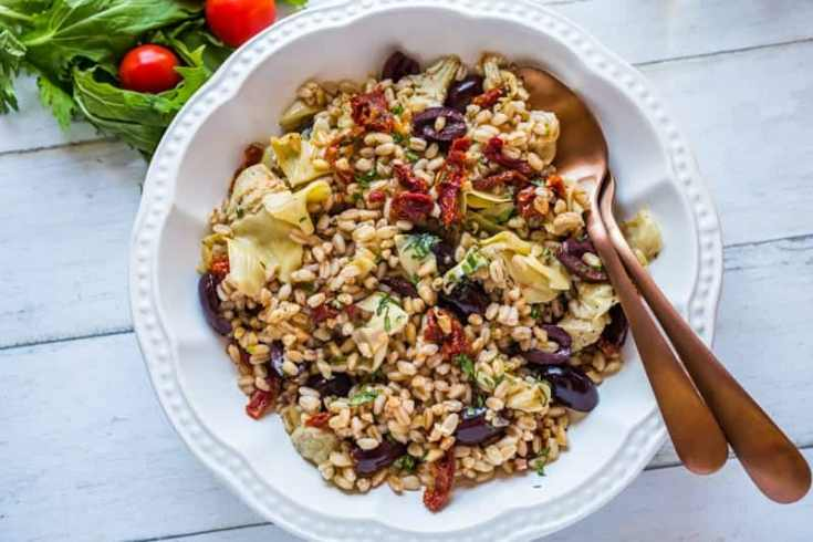 Mediterranean Farro Salad Recipe With Champagne Vinaigrette