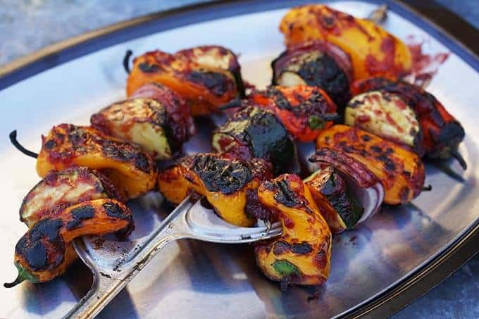 Veggie Kabobs with Plum BBQ Sauce