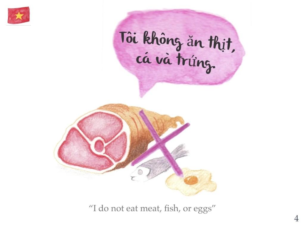 Vegan phrase 4 - I don't eat meat, fish, eggs