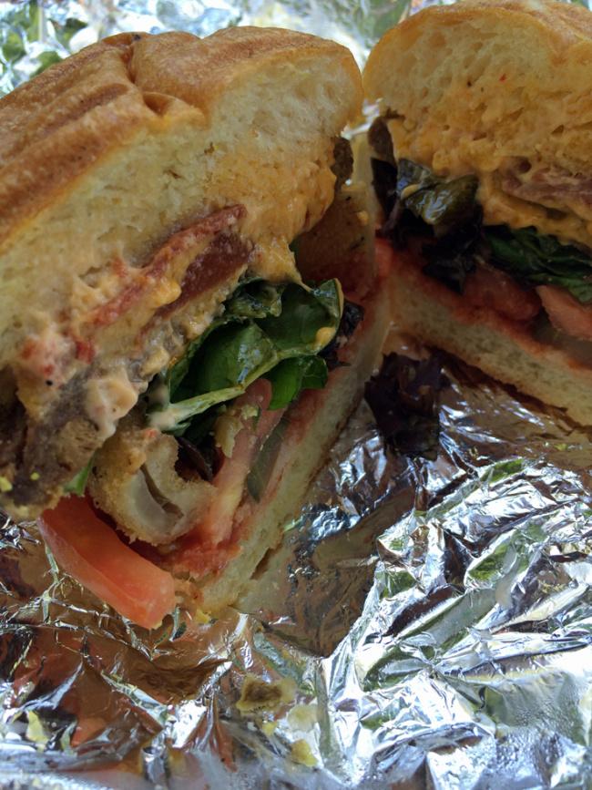 <b>V.V. Burger Showdown:</b> Match 5: Cardinal Veggie Burger Sins<br>[Blossom On Carmine vs. Blossom du Jour]