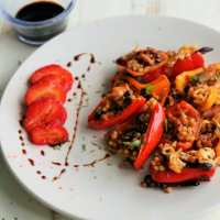 Sweet & Smoky Black Bean-Stuffed Mini Peppers