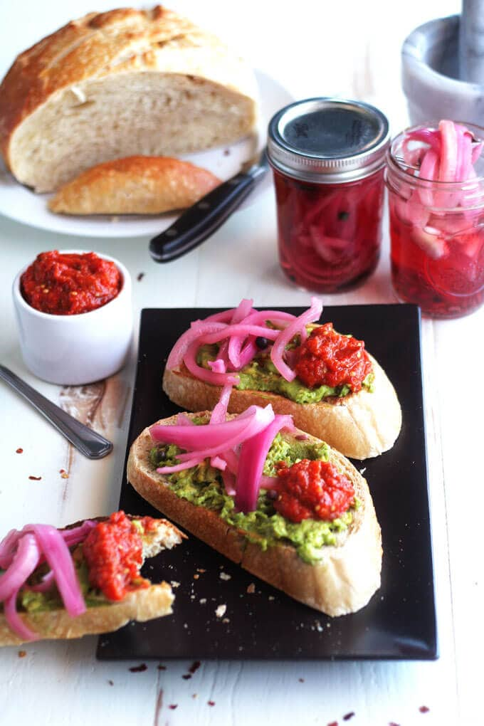 Avocado Tartine w/ Hot Ajvar & Spicy Pickled Onions | Vegan