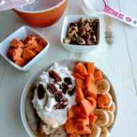 Sweet Potato Oatmeal topped with Coconut Whipped Cream