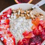 Overhead view of Blood Orange Overnight Oats in white bowl