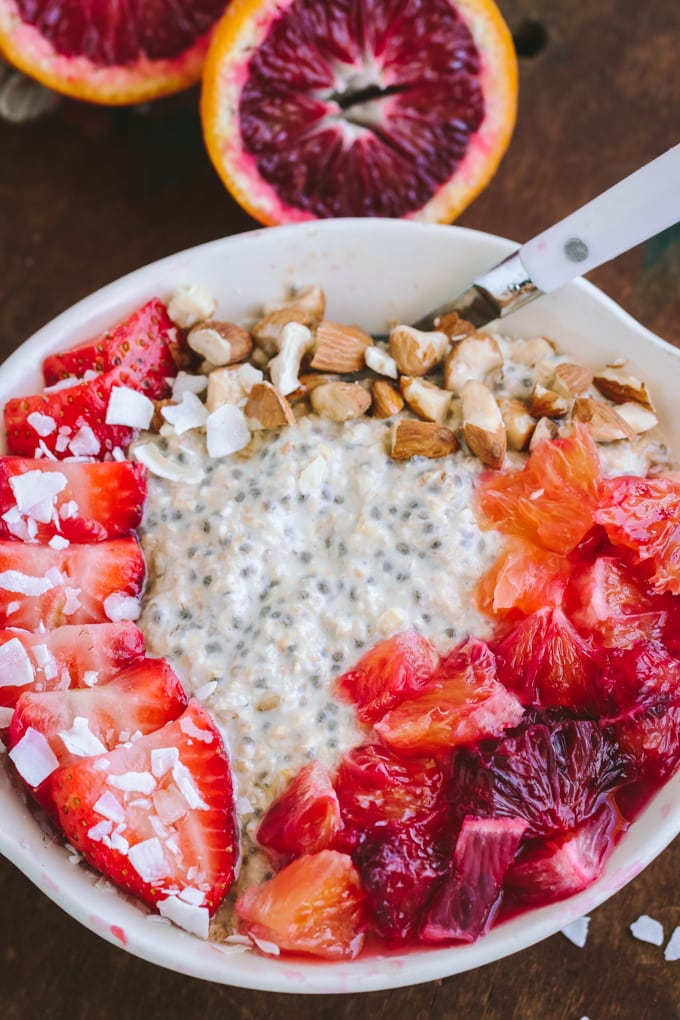 Overhead shot of Blood Orange Overnight Oats in a white bowl