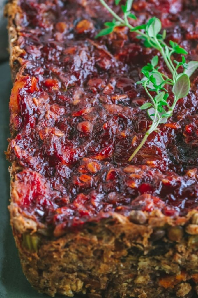 Closeup of Savory Vegan Lentil Loaf with Maple Balsamic Glaze