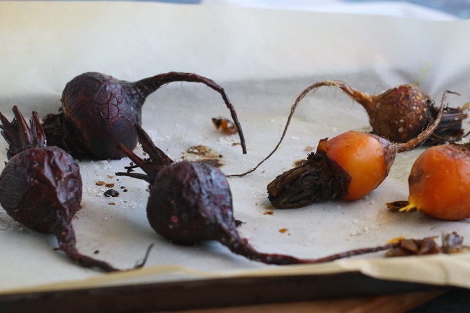 Picture of Roasted Red and Yellow Beetroot on Baking Sheet