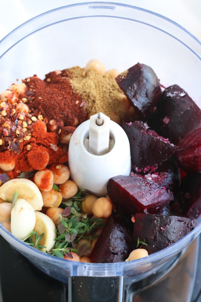 Picture of Ingredients for Roasted Beet Hummus Recipe Added to a Food Processor