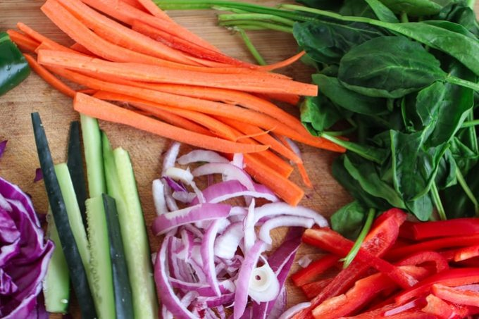 Picture of assorted julienne-style vegetables