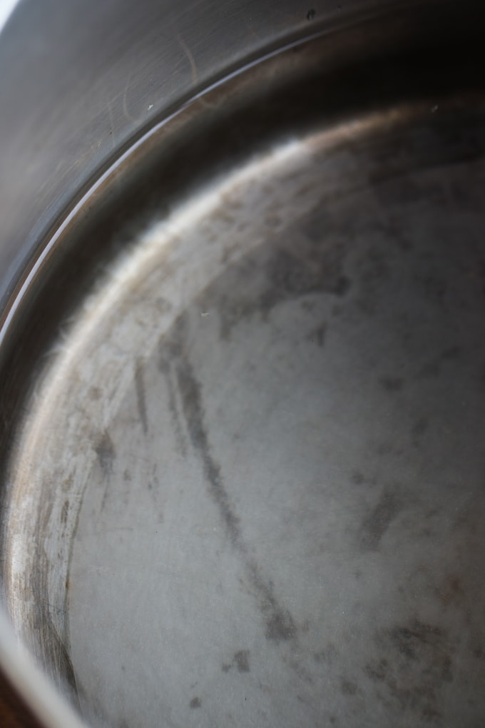 Picture of Rice Paper Soaking in Metal Pot