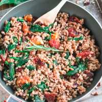One Pot Spinach & Blood Orange Farro Recipe (V, WFPB)