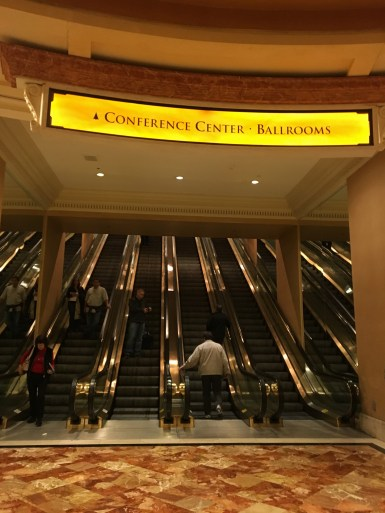 The base of the escalators up to the conference levels at Caesars