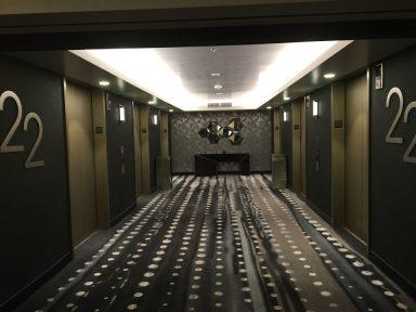 The elevator bank on floor 22.