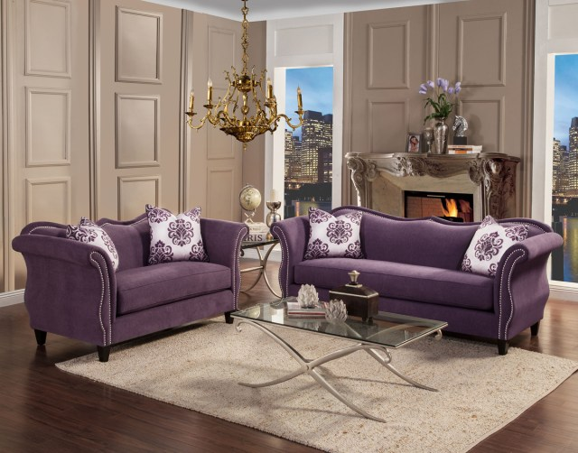 Zaffiro Lavender Fabric Living Room | Las Vegas Furniture ...