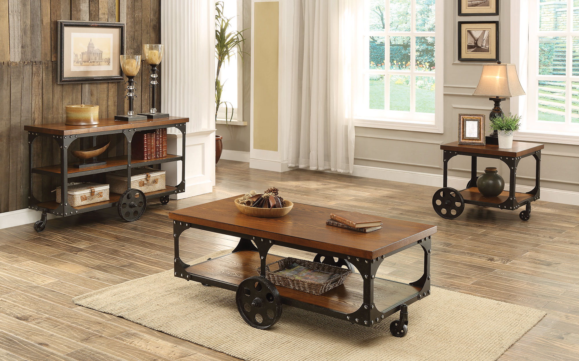 huck rustic country style coffee table collection