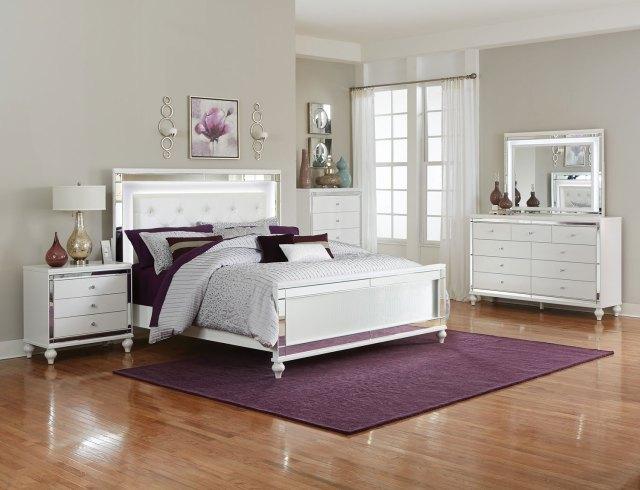 Alonza White Bedroom Set with LED Lighting   Las Vegas ...