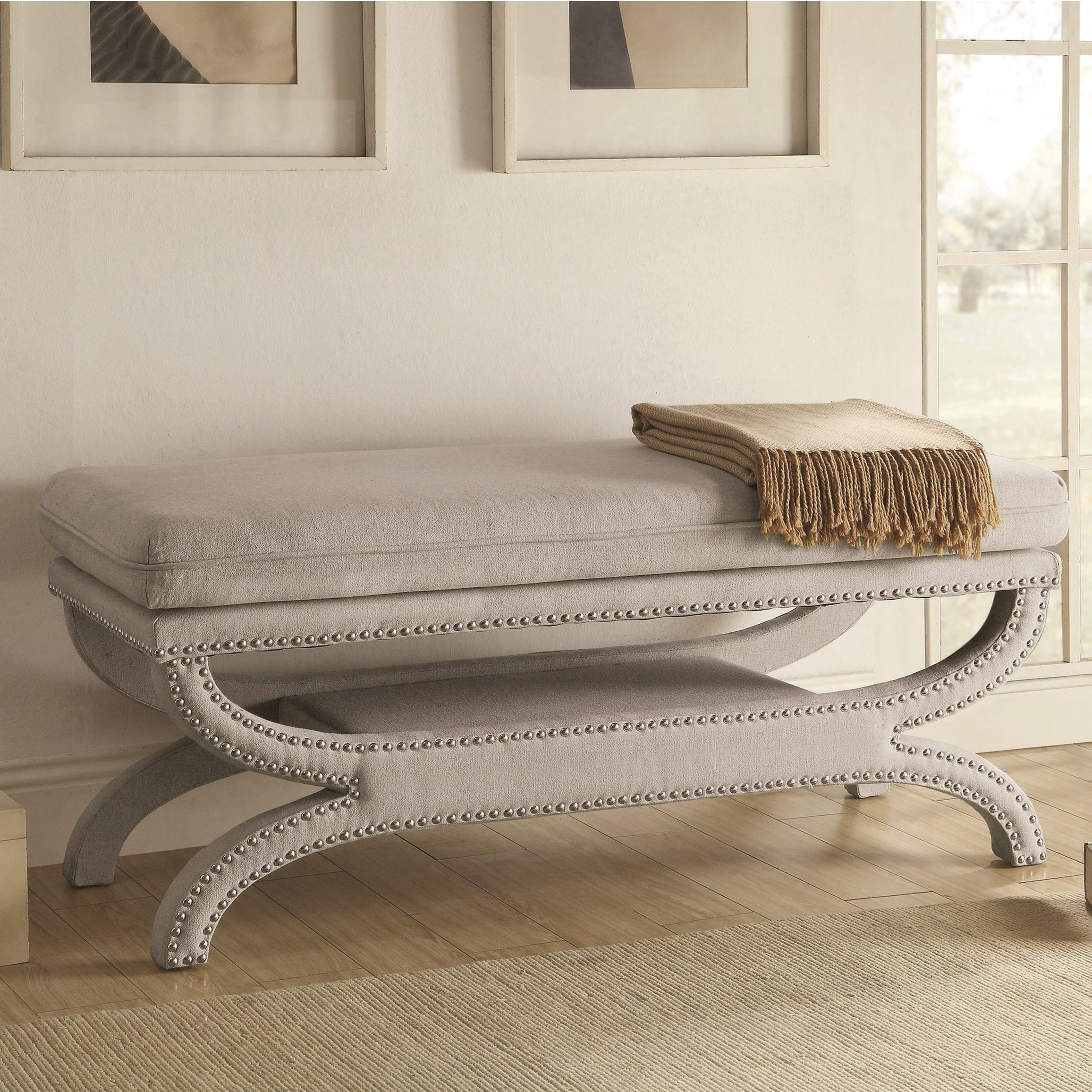 hanna light grey linen like fabric accent bench