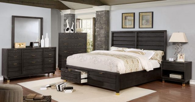Bailey Contemporary Dark Grey Bedroom Set with Drawers ...