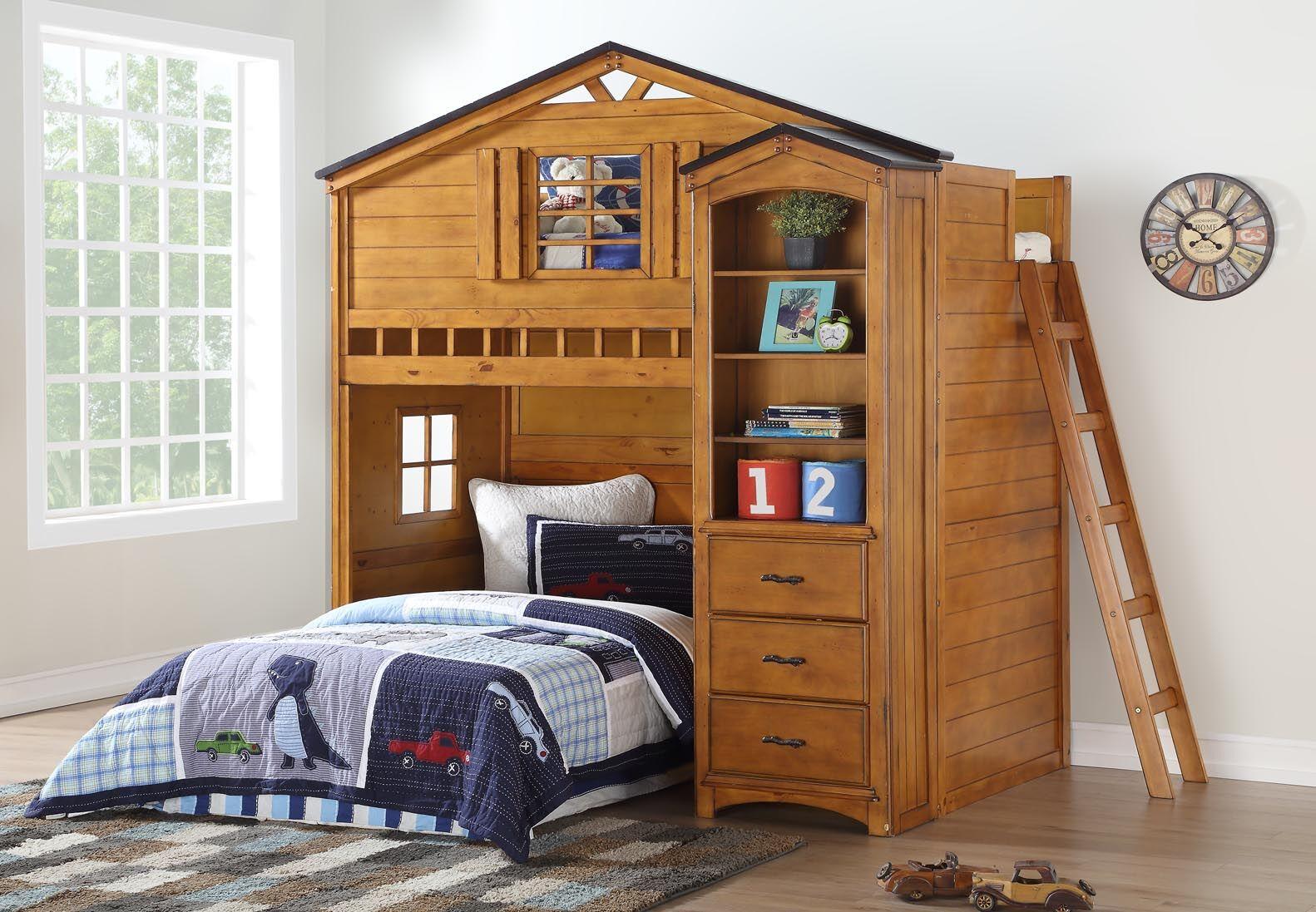 Tree House Rustic Oak Finish Loft Bed Las Vegas Furniture Store Modern Home Furniture Cornerstone Furniture