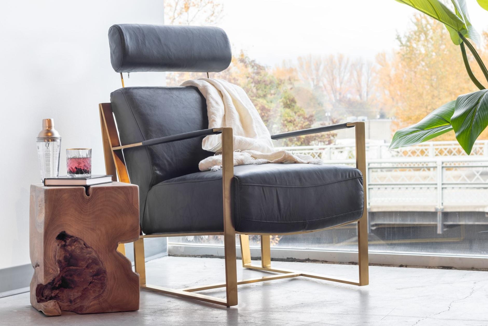 Paradiso Black Leather Accent Chair Las Vegas Furniture Store Modern Home Furniture Cornerstone Furniture
