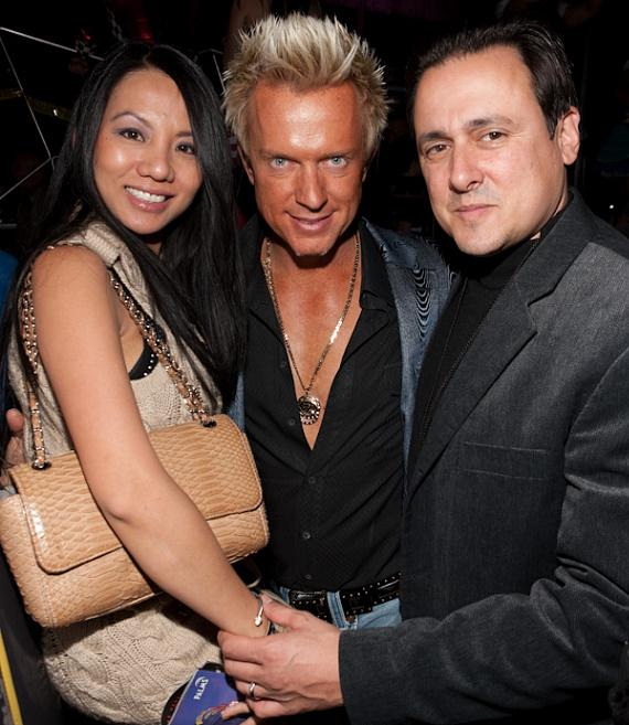 Chris Phillips of Zowie Bowie (center) with Christine and Angelo Giordano of Giordano World Entertainment and Producers of the show VOICES at The Las Vegas Hilton, pictured at MOON Nightclub