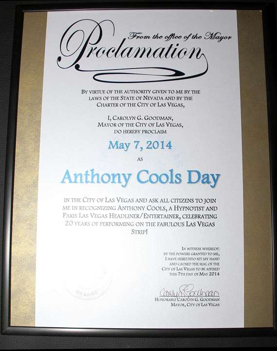 Proclamation of May 7 as Anthony Cools DAy