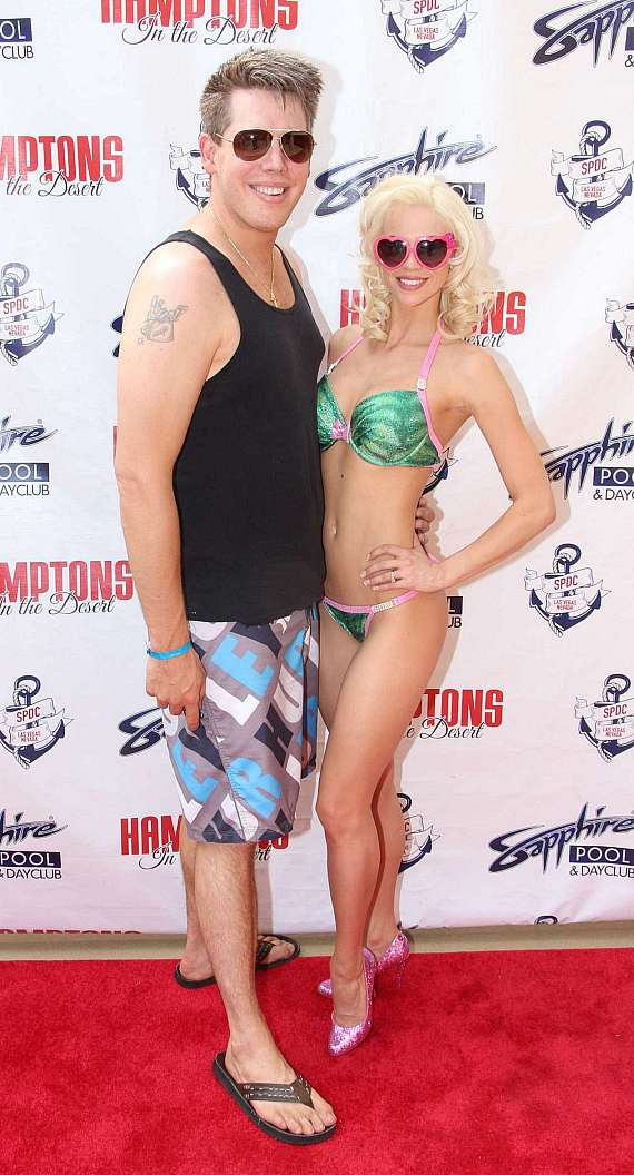 Magician Mark Bennick with Chloe Crawford on red carpet at Sapphire Pool & Dayclub in Las Vegas