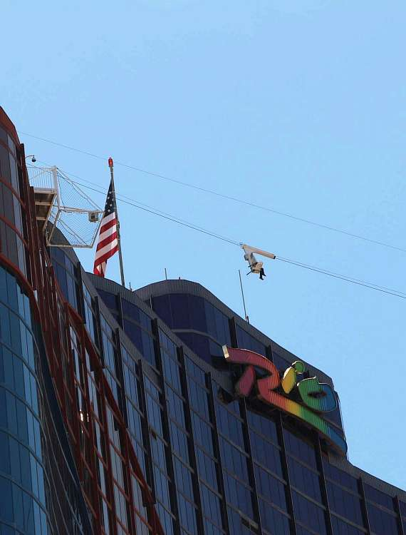 Street view of the VooDoo Zip Line leaving the Masquerade Tower