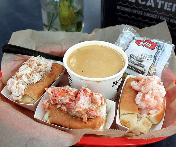 Luke's Trio, a sample of lobster, crab and shrimp rolls