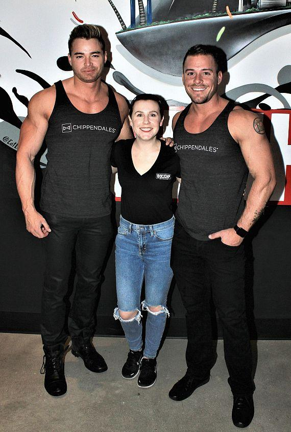 Owner Kelsey Witherow with Chippendales