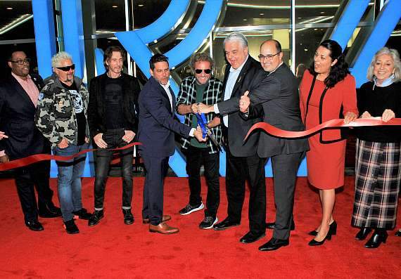 Councilman Cedric Crear, Restaurateur Guy Fieri, Musician Rick Springfield, COO Golden Entertainment Steve Arcana, Musician Sammy Hagar, Nevada Governor Steve Sisolak, Chief Council Golden Entertainment Charles Portell, Councilwoman Olivia Diaz and Congresswoman Dina Titus