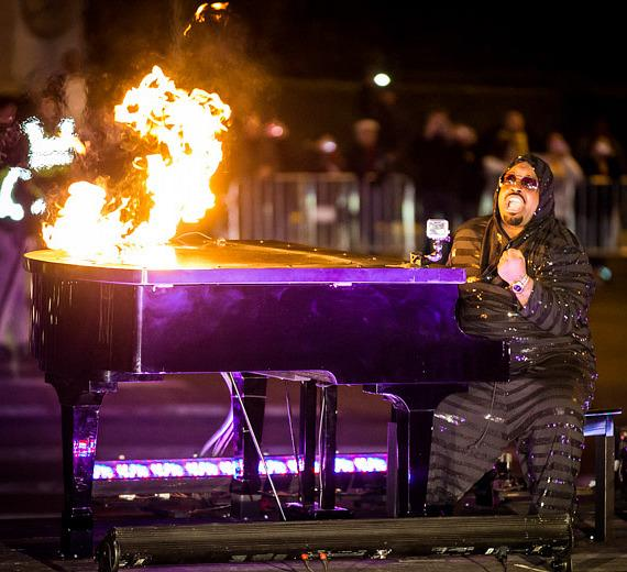 CeeLo Green with flaming piano at Planet Hollywood Resort & Casino