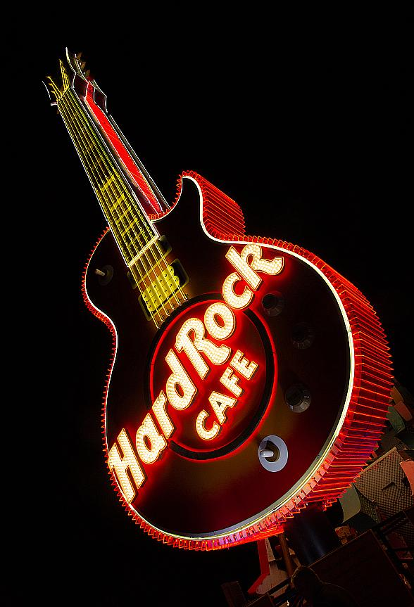 Restored Hard Rock Café Guitar Sign Illuminated for the First Time in the Neon Museum Boneyard