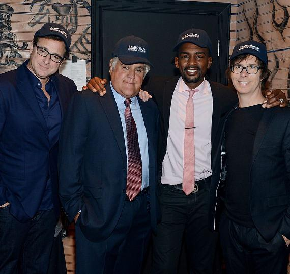 Bob Saget, Jay Leno, Bill Bellamy and Ben Folds pose for a photo at the House of Blues Las Vegas on June 5, 2014