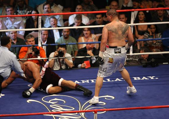 Jameel McCline hits the canvas at the Mandalay Bay Events Center