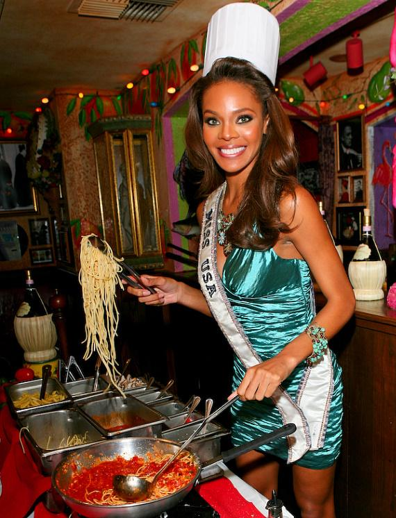 Crystle Stewart (Miss USA 2008) at Buca di Beppo restaurant