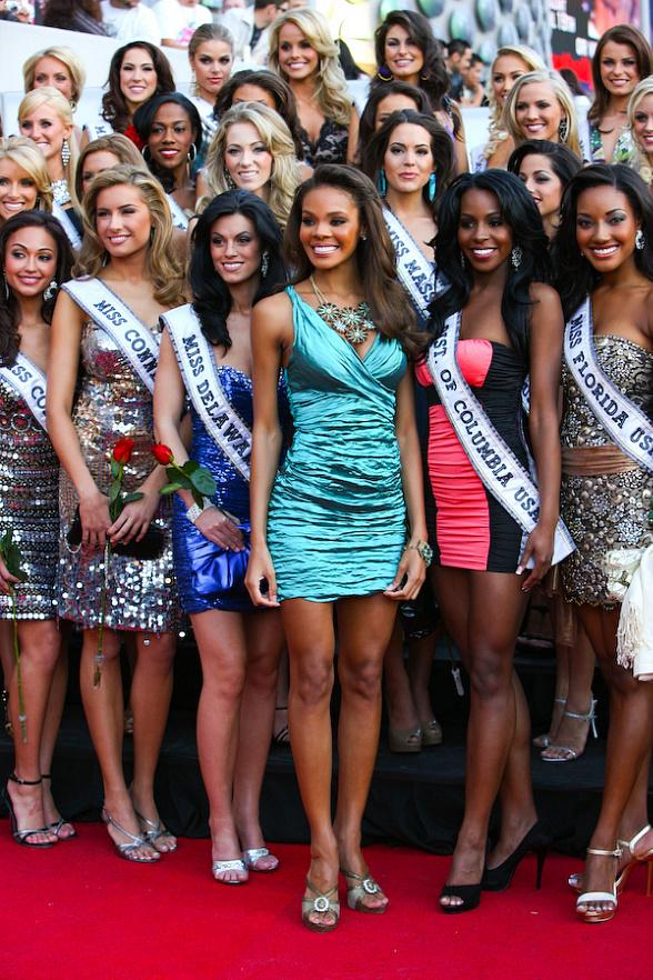 Crystle Stewart (Miss USA 2008) and the fifty-one 2009 Miss USA contestants