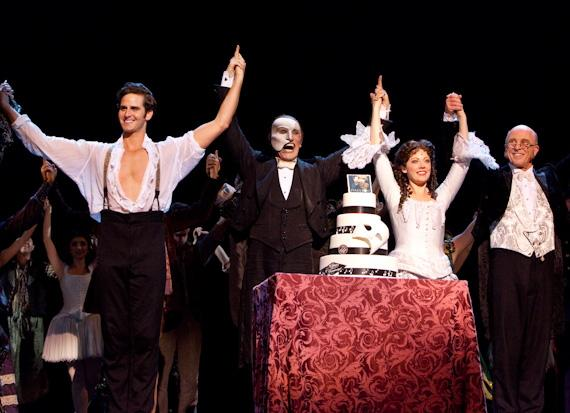 Andrew Ragone, Anthony Crivello, Kristi Holden and John Leslie Wolf with the cake on stage during curtain call